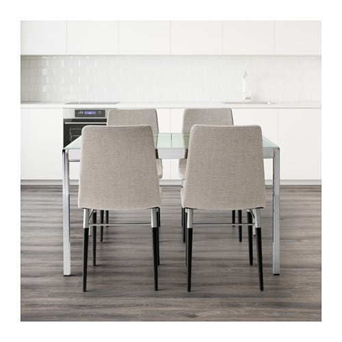 Glivarp preben table and 4 chairs transparent ten light for Table extensible ikea bjursta brun noir