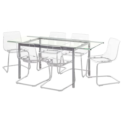 GLIVARP / TOBIAS Table and 6 chairs, transparent/transparent, 188 cm