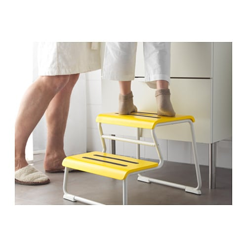 IKEA GLOTTEN step stool Anti-slip cover on top reduces the risk of slippage.