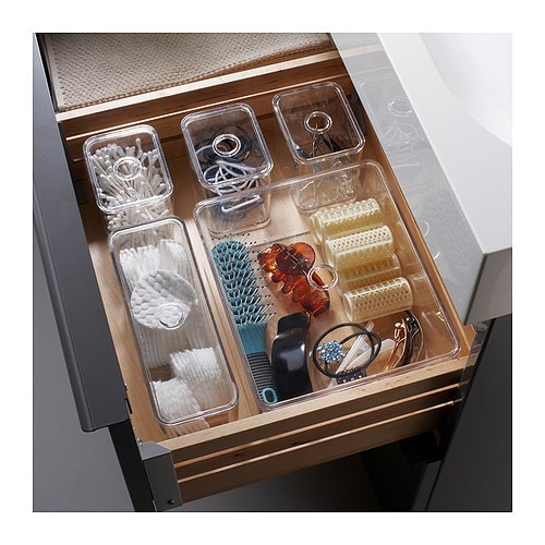 Godmorgon box with lid set of 5 transparent 24x20x10 cm ikea - Rangement couture ikea ...