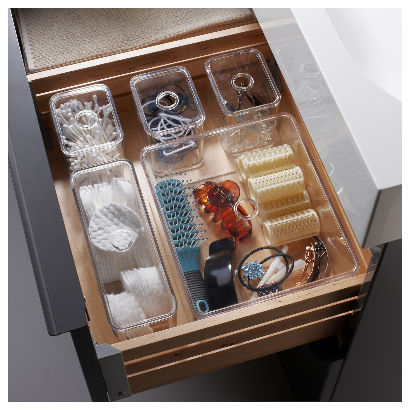 IKEA GODMORGON box with lid, set of 5 Helps you organise your jewellery, make-up and bottles.