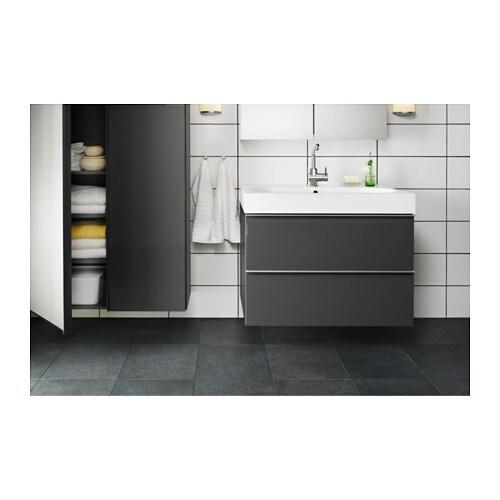 High Gloss Grey Cabinets Ikea: GODMORGON/BRÅVIKEN Wash-stand With 2 Drawers High-gloss