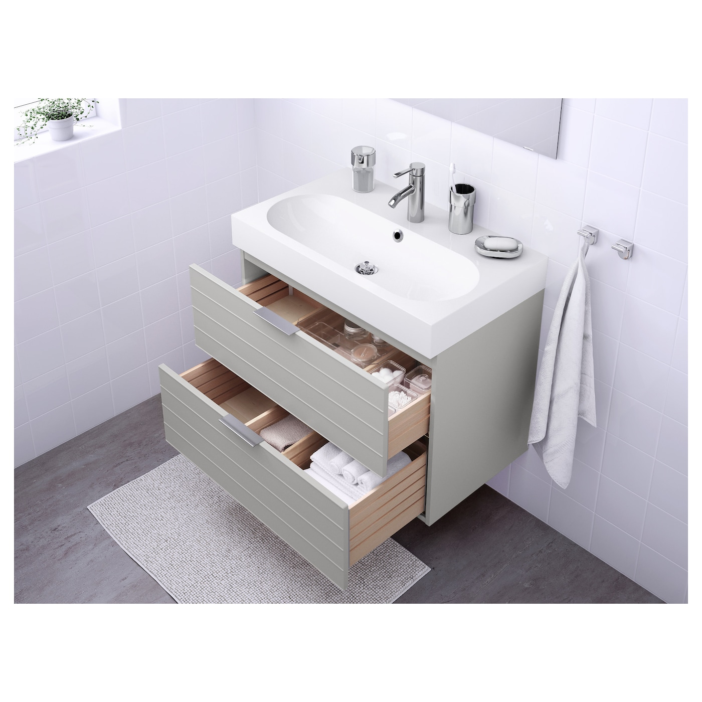 Godmorgon br viken wash stand with 2 drawers light grey for Meuble to go montreal