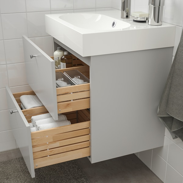 GODMORGON / BRÅVIKEN Wash-stand with 2 drawers, Gillburen light grey/Brogrund tap, 61x49x68 cm
