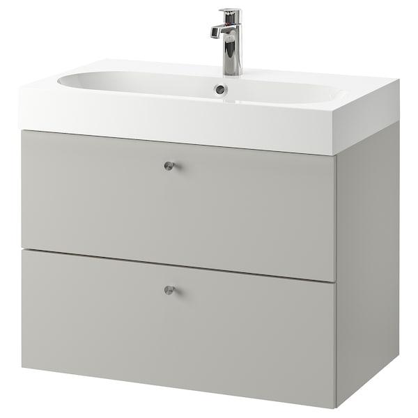 GODMORGON / BRÅVIKEN Wash-stand with 2 drawers, Gillburen light grey/Brogrund tap, 80x48x68 cm