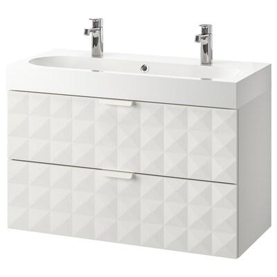 GODMORGON / BRÅVIKEN wash-stand with 2 drawers Resjön white/Brogrund tap 100 cm 100 cm 48 cm 68 cm