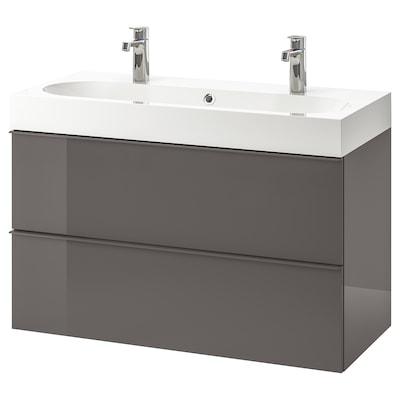 GODMORGON / BRÅVIKEN wash-stand with 2 drawers high-gloss grey/Brogrund tap 100 cm 100 cm 48 cm 68 cm