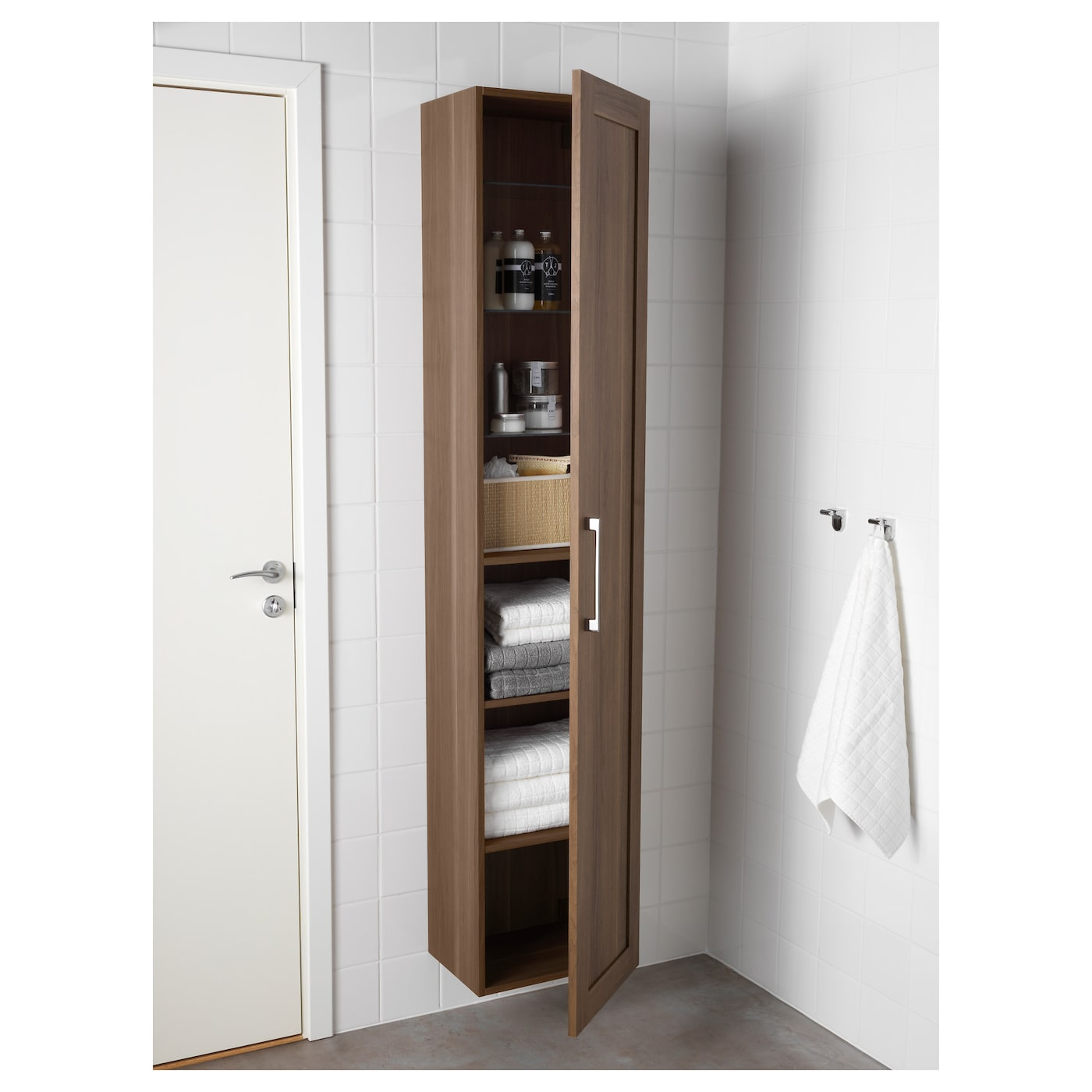 godmorgon bathroom cabinet godmorgon high cabinet walnut effect 40 x 32 x 192 cm ikea 15948