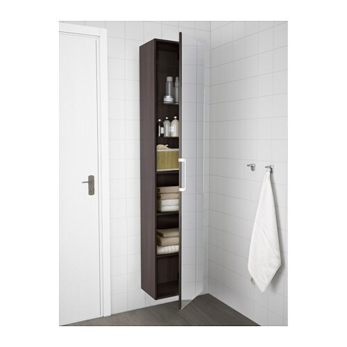 godmorgon high cabinet with mirror door black brown 40x32x192 cm ikea. Black Bedroom Furniture Sets. Home Design Ideas