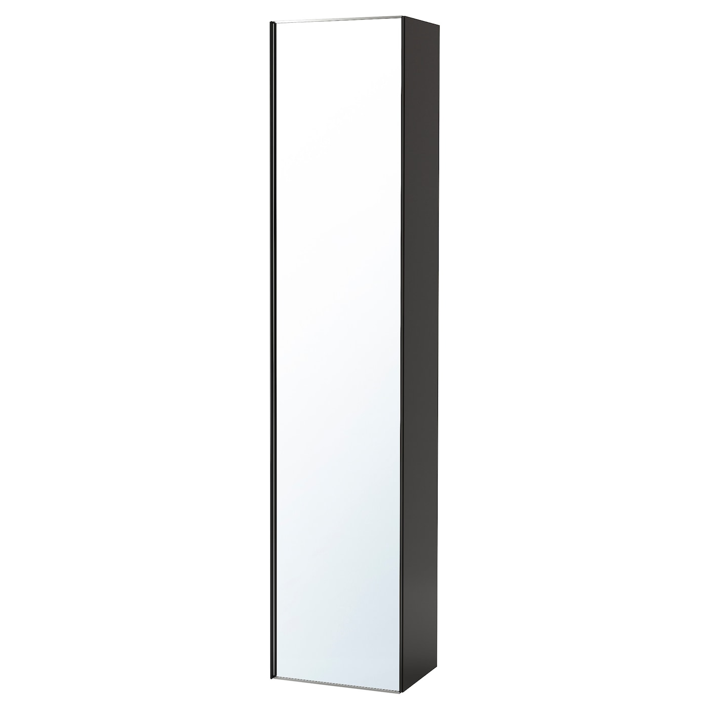 Godmorgon high cabinet with mirror door high gloss grey for Miroir grossissant mural