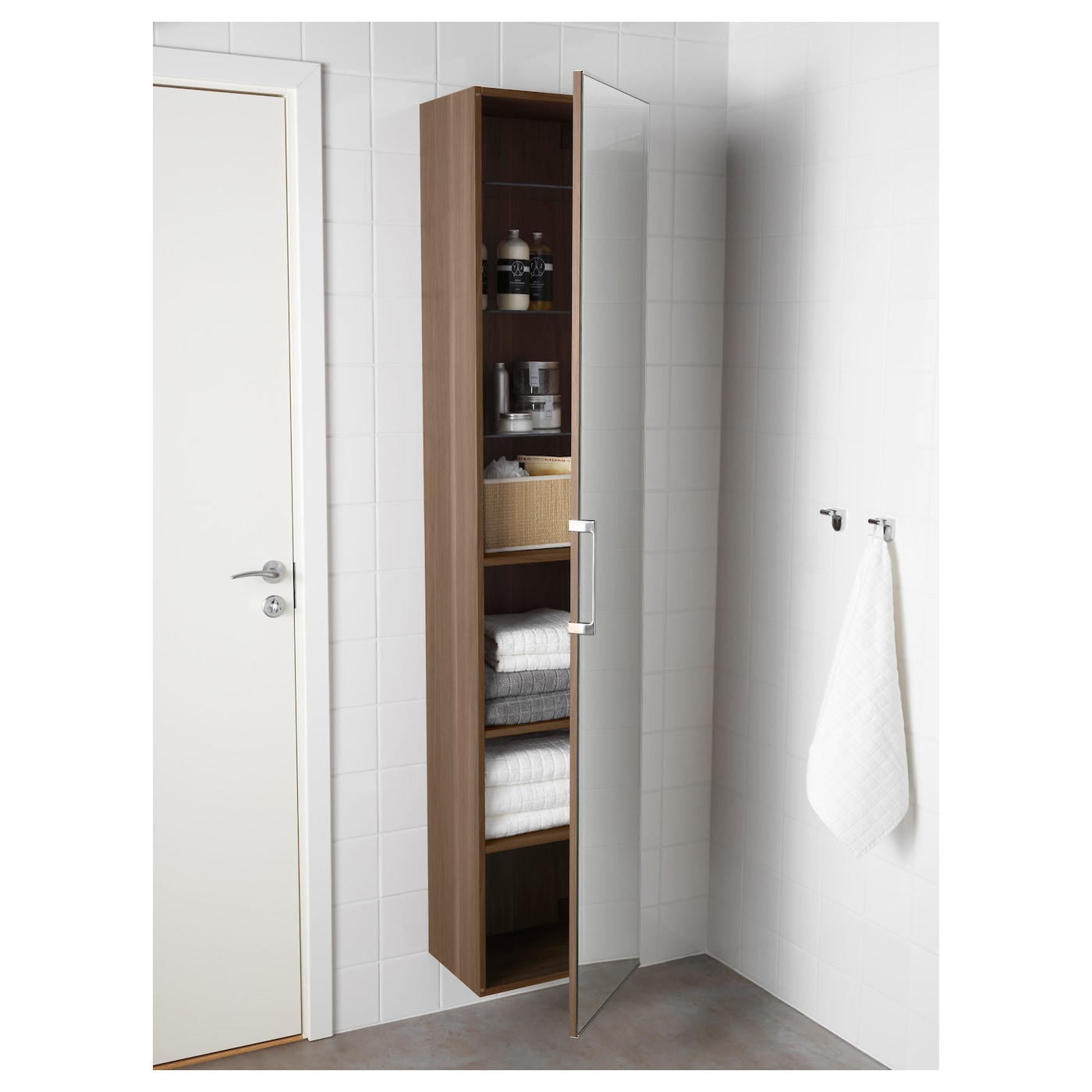 godmorgon high cabinet with mirror door walnut effect 40 x 32 x 192 cm ikea. Black Bedroom Furniture Sets. Home Design Ideas