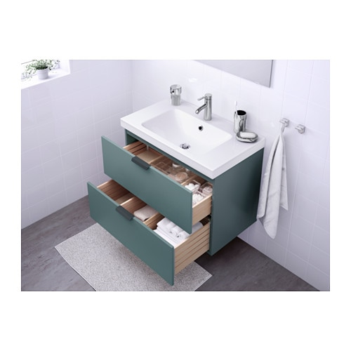 godmorgon odensvik wash stand with 2 drawers grey turquoise 80x49x64 cm ikea. Black Bedroom Furniture Sets. Home Design Ideas