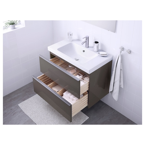 GODMORGON / ODENSVIK Wash-stand with 2 drawers, high-gloss grey/Dalskär tap, 83x49x64 cm