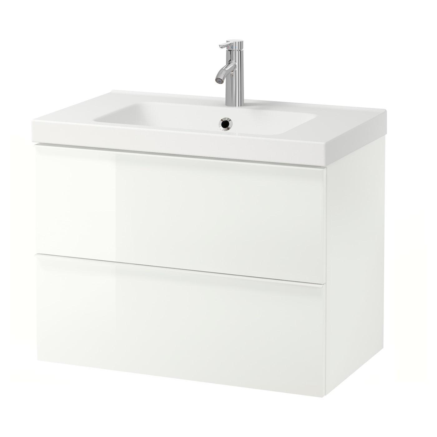 GODMORGON high gloss white, Wash stand