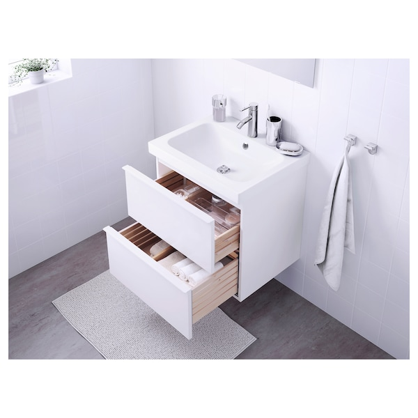 GODMORGON / ODENSVIK Wash-stand with 2 drawers, high-gloss white/Dalskär tap, 63x49x64 cm