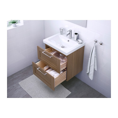 Godmorgon odensvik wash stand with 2 drawers walnut effect for Colonne salle de bain ikea godmorgon