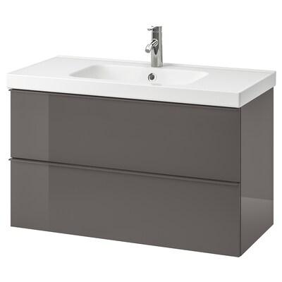 GODMORGON / ODENSVIK wash-stand with 2 drawers high-gloss grey/Dalskär tap 103 cm 100 cm 49 cm 64 cm