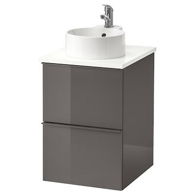 GODMORGON/TOLKEN / GUTVIKEN wsh-stnd w countertop 29 wash-basin high-gloss grey/white Olskär tap 42 cm 49 cm 70 cm