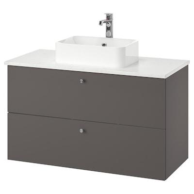 GODMORGON/TOLKEN / HÖRVIK Wsh-stnd w countrtop 45x32 wsh-bsn, Gillburen dark grey/marble effect Brogrund tap, 102x49x72 cm