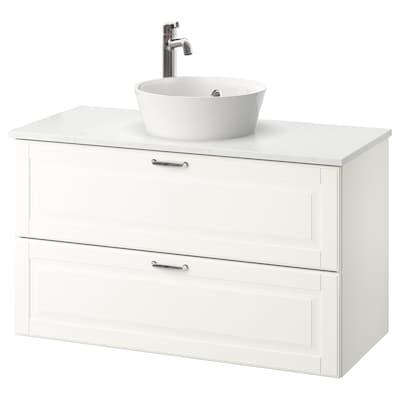 GODMORGON/TOLKEN / KATTEVIK wsh-stnd w countertop 40 wash-basin Kasjön white/marble effect Voxnan tap 102 cm 49 cm 75 cm