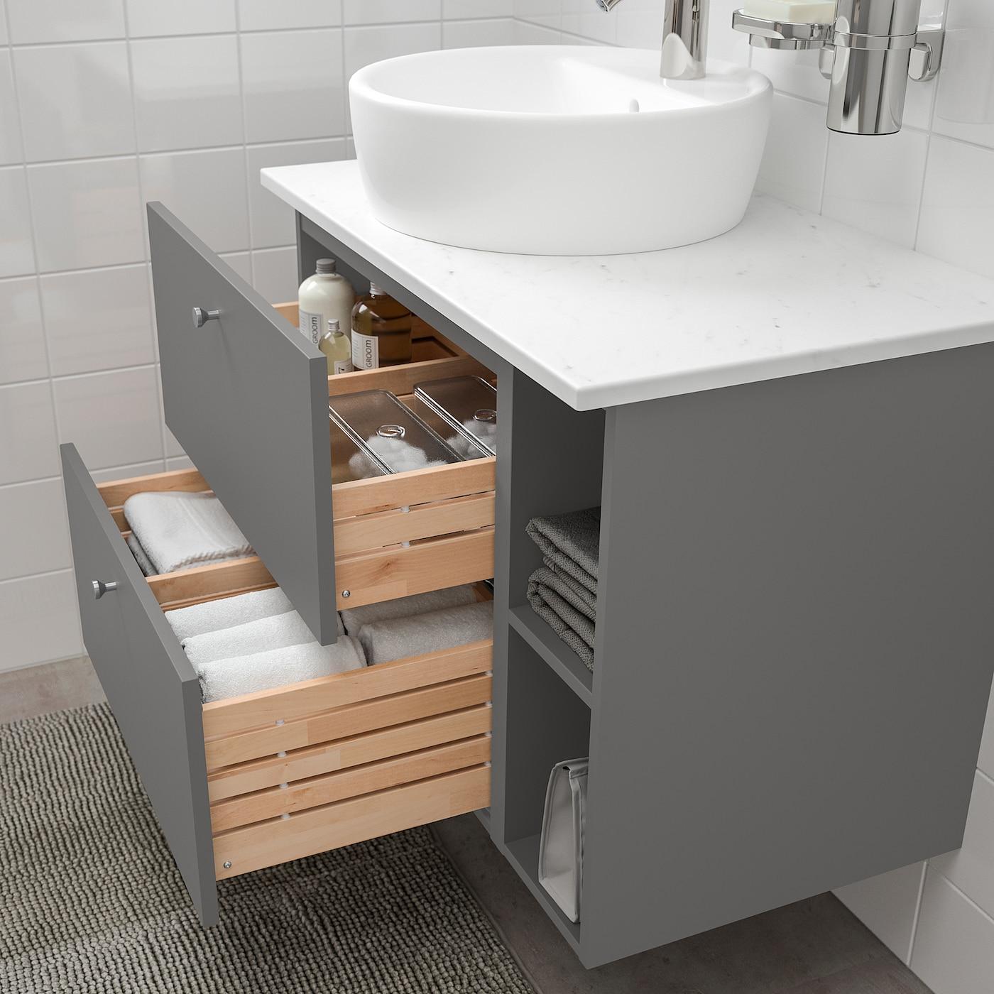 Godmorgon Tolken Tornviken Bathroom Furniture Set Of 7 Gillburen Dark Grey Marble Effect Dalskar Tap Ikea