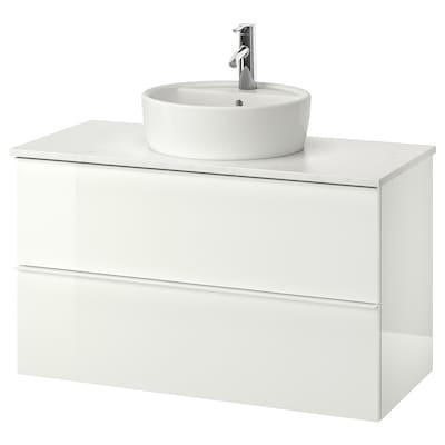 GODMORGON/TOLKEN / TÖRNVIKEN wsh-stnd w countertop 45 wsh-basin high-gloss white/marble effect Dalskär tap 102 cm 100 cm 49 cm 74 cm