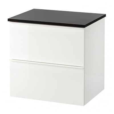 GODMORGON / TOLKEN Wash-stand with 2 drawers, high-gloss white/anthracite, 62x49x60 cm