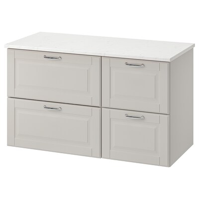 GODMORGON / TOLKEN wash-stand with 4 drawers Kasjön light grey/marble effect 102 cm 49 cm 60 cm