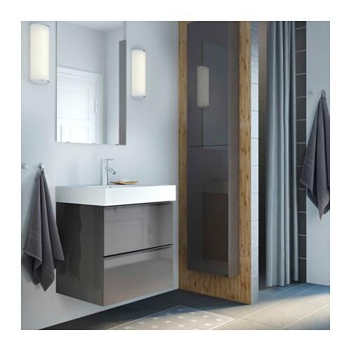 Godmorgon wall cabinet with 1 door high gloss grey - Ikea meuble salle de bain godmorgon ...