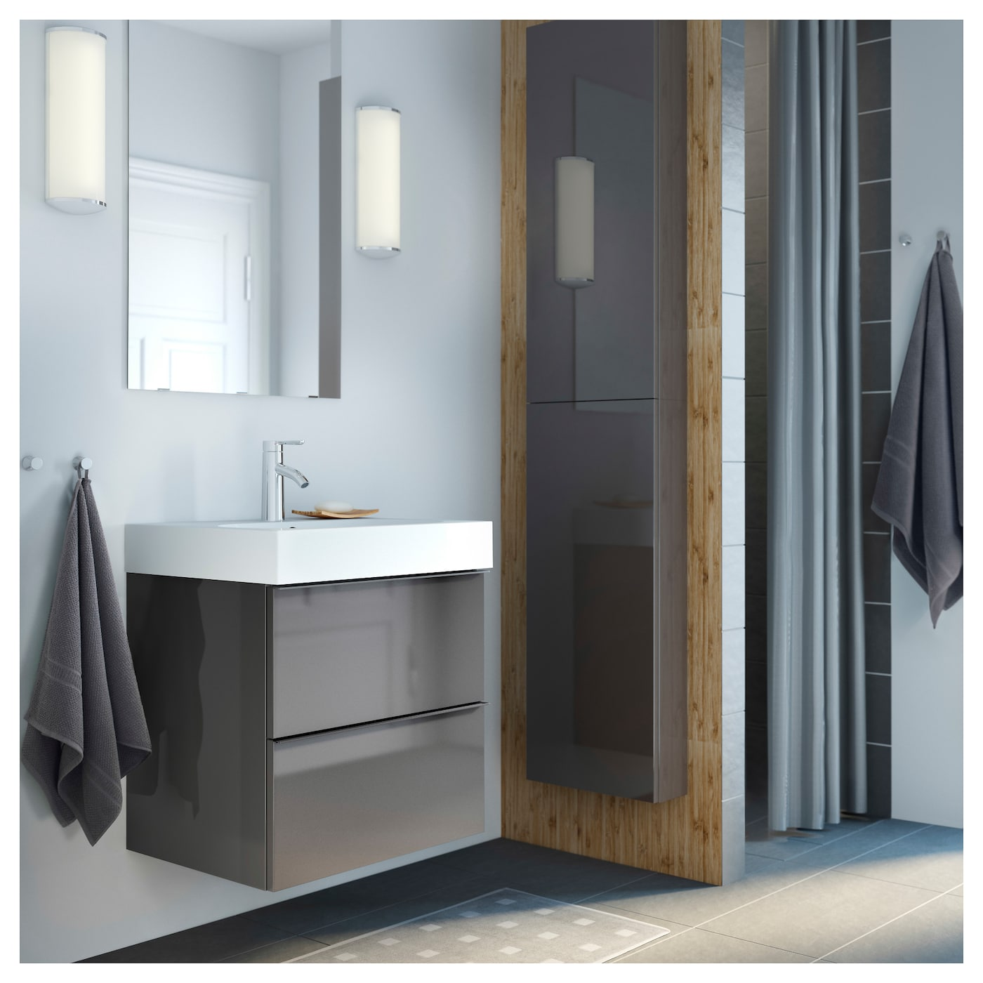 godmorgon bathroom cabinet godmorgon wall cabinet with 1 door high gloss grey 40 x 14 15948