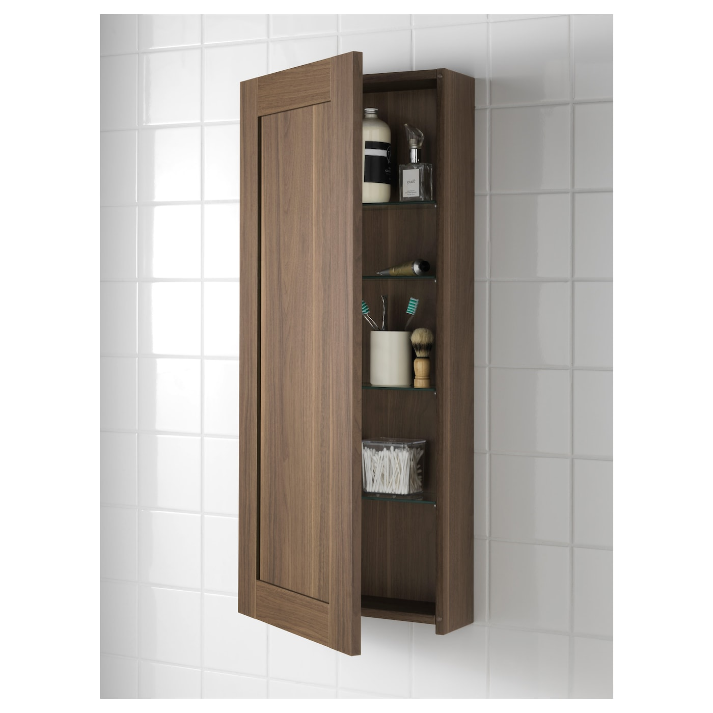 Godmorgon wall cabinet with 1 door walnut effect 40x14x96 for In wall bathroom storage