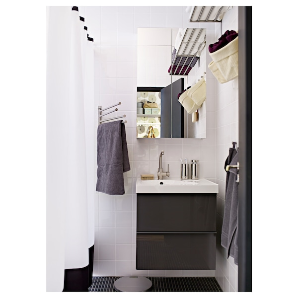 GODMORGON Wash-stand with 2 drawers, high-gloss grey, 60x47x58 cm