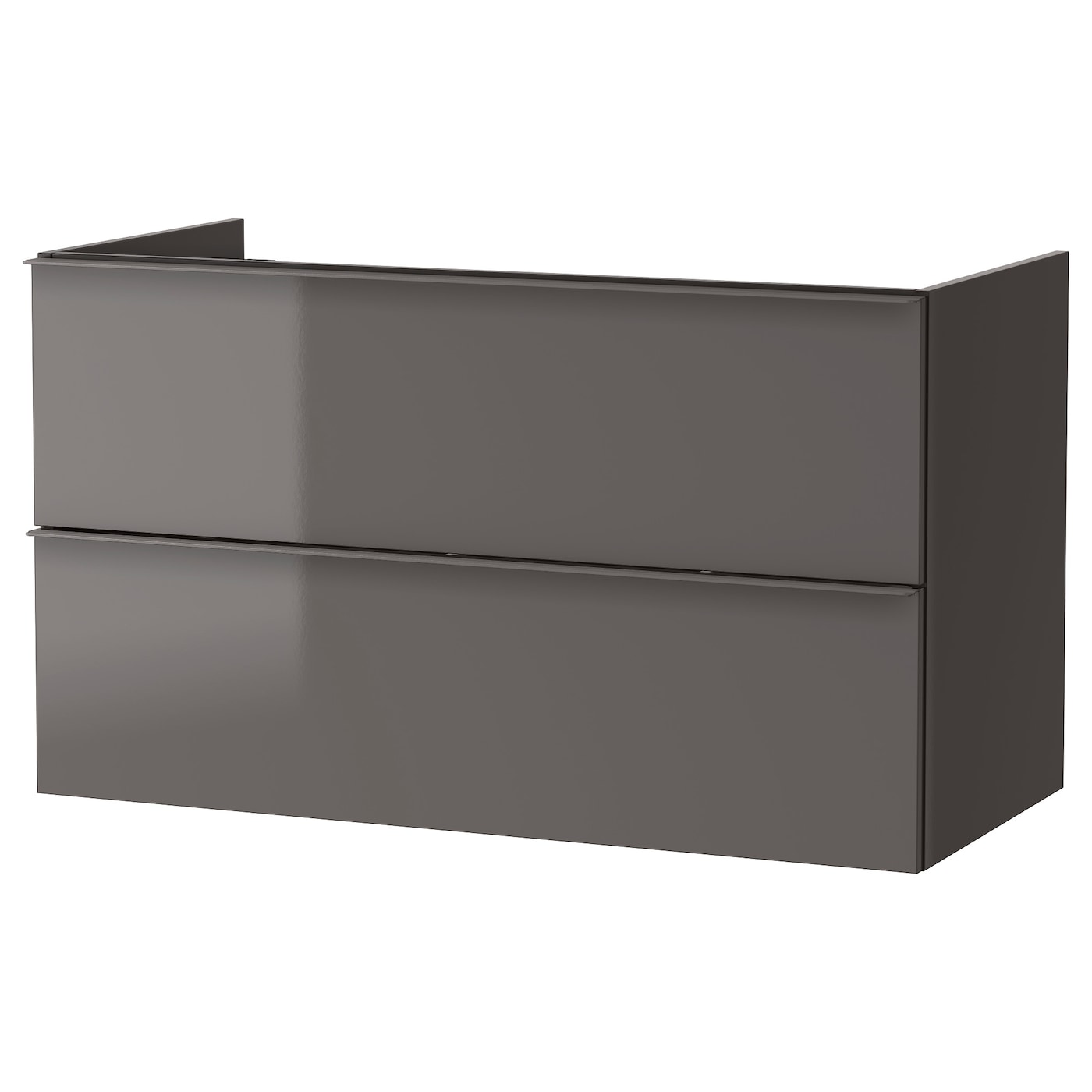 godmorgon wash stand with 2 drawers high gloss grey 100 x 47 x 58 cm ikea. Black Bedroom Furniture Sets. Home Design Ideas