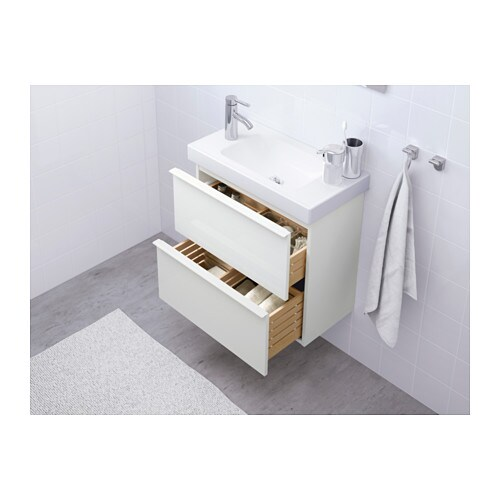 godmorgon wash stand with 2 drawers high gloss white 60x32x58 cm ikea. Black Bedroom Furniture Sets. Home Design Ideas