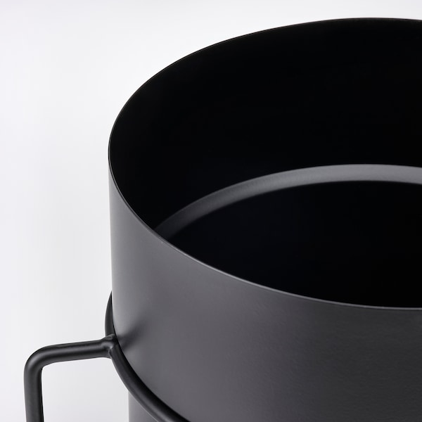 GOJIBÄR Plant pot with stand, in/outdoor black, 19 cm