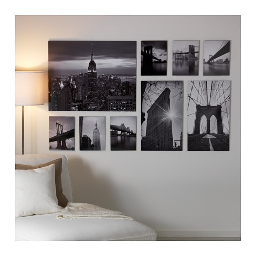 Gr nby picture set of 9 sights of the city 179x112 cm ikea for Decoration murale verticale