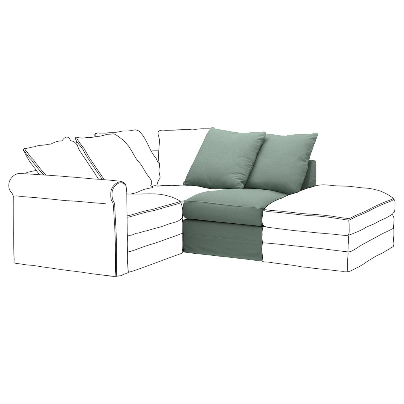 IKEA GRÖNLID 1-seat section 10 year guarantee. Read about the terms in the guarantee brochure.