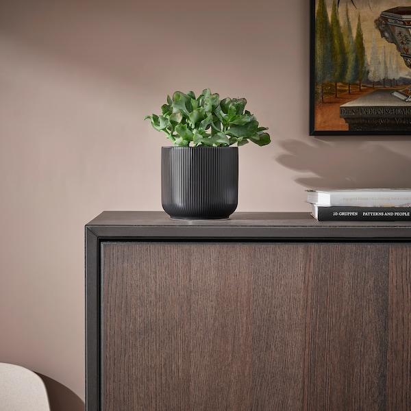 GRADVIS Plant pot, in/outdoor black, 12 cm