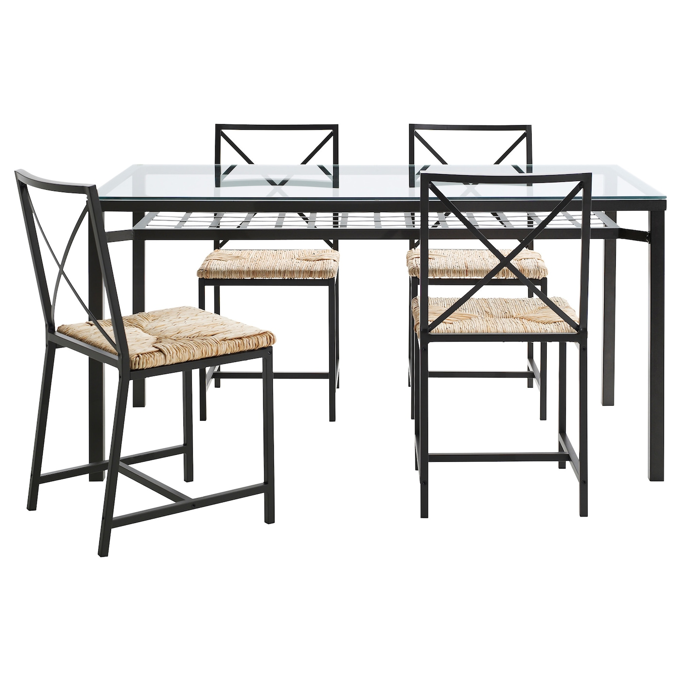 GRANÅS Table and 4 chairs Black/glass - IKEA