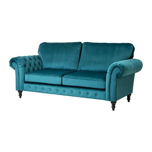 Grevie 3 Seat Sofa Velvet Blue Ikea