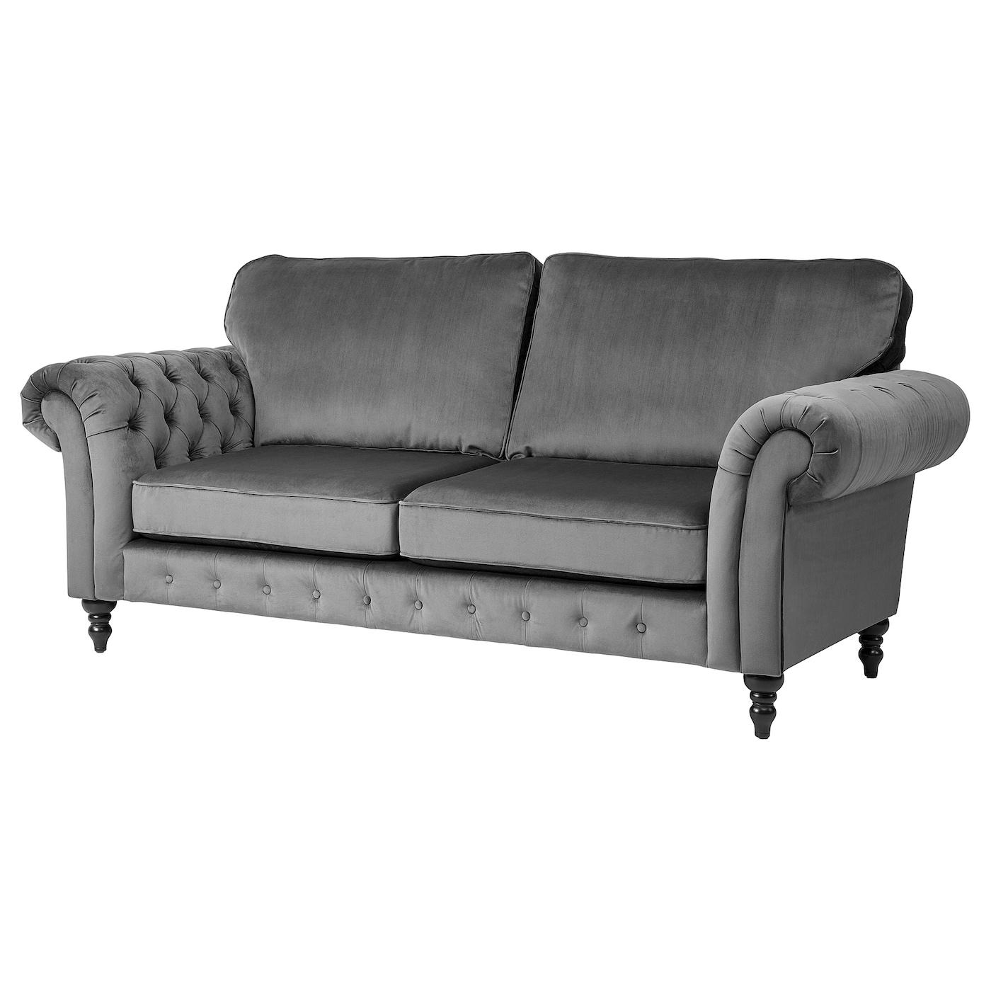 Grevie Velvet Grey 3 Seat Sofa Ikea