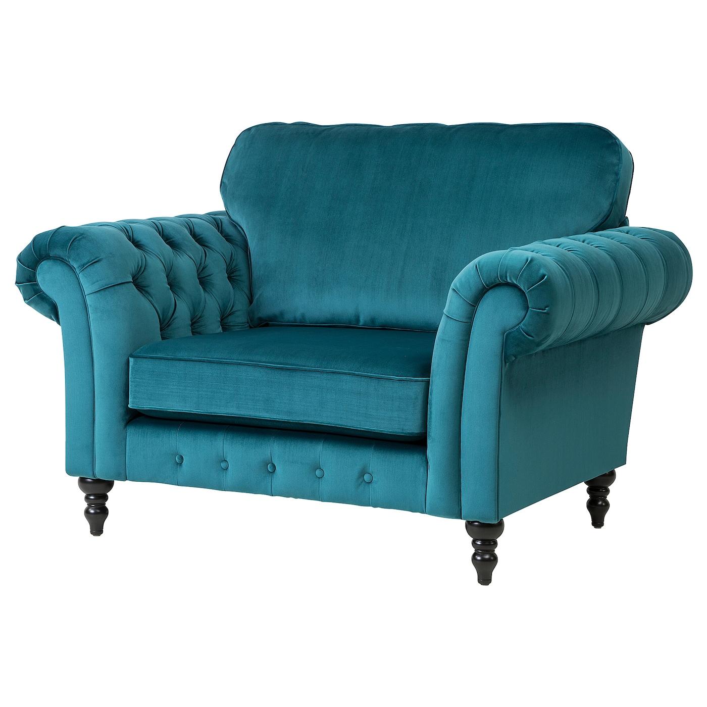 Grevie Velvet Blue Armchair Ikea
