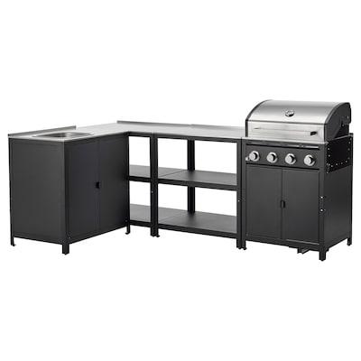 GRILLSKÄR Outdoor kitchen, stainless steel, 244x147 cm