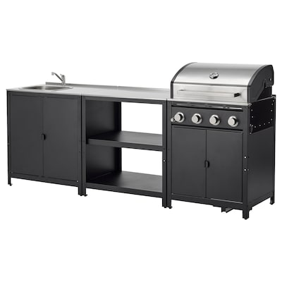 GRILLSKÄR Outdoor kitchen, stainless steel, 258x61 cm