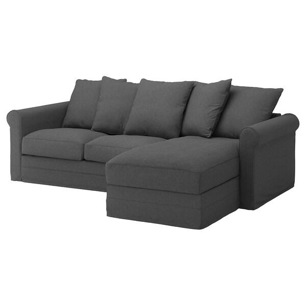 GRÖNLID with chaise longue/Tallmyra medium grey, 3-seat ...