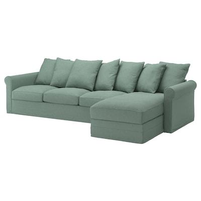 GRÖNLID 4-seat sofa, with chaise longue/Tallmyra light green