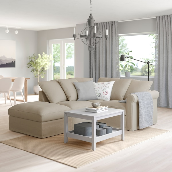 GRÖNLID Corner sofa, 3-seat, with open end/Sporda natural
