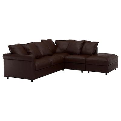 GRÖNLID Corner sofa, 4-seat, with open end/Kimstad dark brown