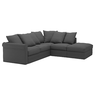 GRÖNLID Corner sofa, 4-seat, with open end/Tallmyra medium grey