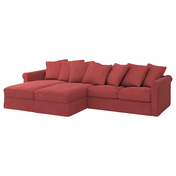 GRÖNLID Cover for 4-seat sofa, with chaise longues/Tallmyra light red